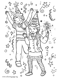 Kids Celebrating New Year Coloring Page