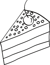 Cake Slice With Cherry Top Coloring Pages
