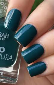 This Dark Color Between Green And Blue Stand Perfectly On Short Length Of Nails