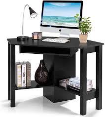 costway schreibtisch eckig geeignet als büro und für arbeit am computer 120 x 60 x 76 5 cm weiß schwarz