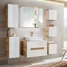 details zu badezimmer badmöbel komplett set hochglanz weiß keramik waschbecken waschtisch