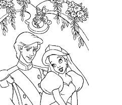 Ariel And Prince Eric Coloring Pages Free