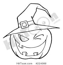 Coloring Page Outline Of A Toothy Jackolantern Pumpkin Winking And Wearing Witch Hat 224008