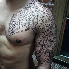 Black Ink Outline Male Tribal Upper Arm Tattoos