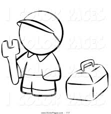 Vector Coloring Page Of A Black And White Human Factor Contractor Man With His Tool Box