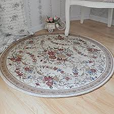 Ustide Country Style Soft Cotton Rugs Washable Rose Design Throw Round Floral Floor Tea