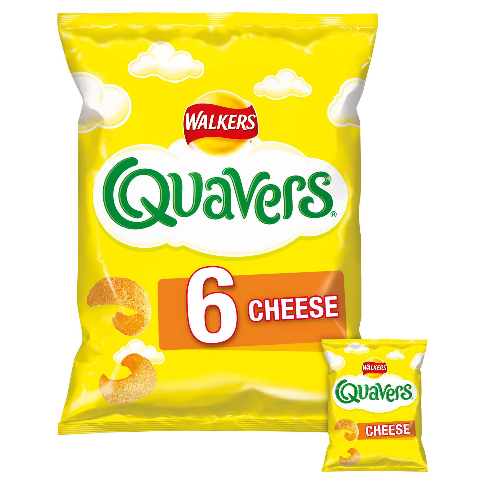 Walkers Quavers Snacks - Cheese, 6x16g