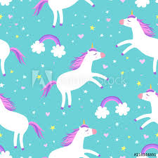 Cute Cartoon Colorful Seamless Pattern With Unicorns Rainbows And Stars On Mint Green Background Perfect