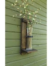 Rustic Wall Sconce Wood Vase Flower