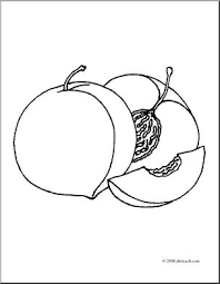 Clip Art Fruit Realistic Peaches Coloring Page I Abcteach