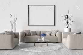 wohnzimmer ein sofa zwei stühlen und einem tisch an der wand eines leeren bilderrahmen 3d darstellung