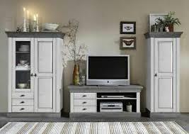 details zu massivholz wohnwand 2farbig weiß grau kiefer anbauwand wohnzimmer schrank wand