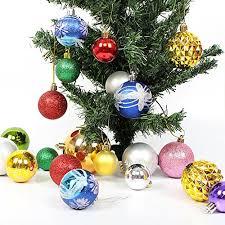 HEPHEAS 50PCS Various Sizes Shatterproof Christmas Ball Pendant Shiny Clear Glitter Trees Ornaments30mm