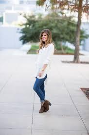 Fall Windowpane Plaid Tunic Shirt And Jeans