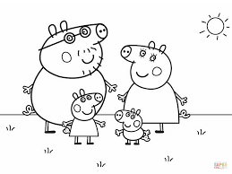 Family Coloring Page Peppa Pigs Free Printable Pages Drawing