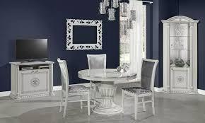 esstisch rund mit stühlen weißsilber hochglanz