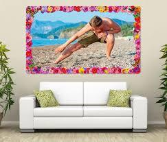 3d wandtattoo aerobic mann strand sport meer blumen rahmen wandbild wohnzimmer wand aufkleber 11l754