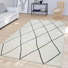 details zu wohnzimmer teppich mit skandi rauten design moderner kurzflor hell in weiß