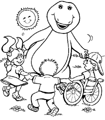 Barney Playing With Children Coloring Pages For Kids Printable