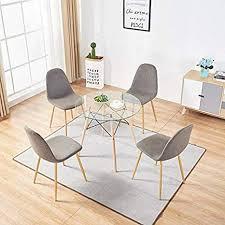 mcombo esszimmerstühle 4 stück esstisch rund klar