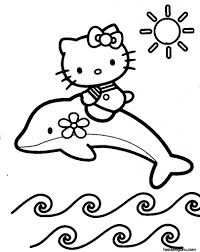 Coloring Pages Printable Hello Kitty Print Out Pictures Beautiful Flower Accessories Riding Dolphin Jumping From