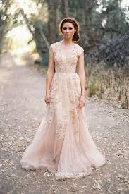 Vintage Lace Embroidered Plunging V Neck Cap Sleeve Blush Fall Wedding Dress