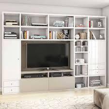 hochglanz wohnzimmer mediawand in weiß banyo
