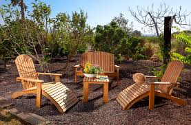 Brown Landscape Color Theme And Rustic Decorating Style Mulch Adirondack Chairs Patio Furniture Container Plants