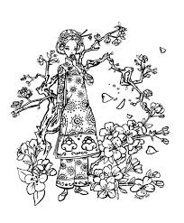 Cherry Tree Blossom Coloring Page And Pages Throughout