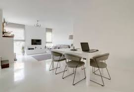 Image Of Modern White Dining And Living Room