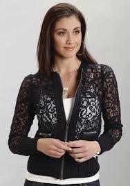 stetson women u0027s navy lace western bomber jacket