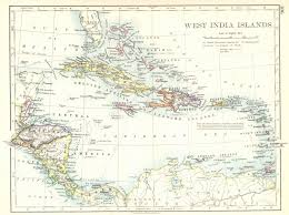 CARIBBEAN West Indies Central America India Islands 1897 Map