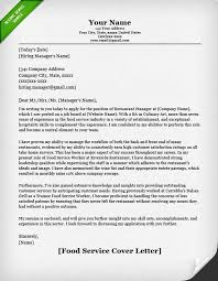 Food Service Cover Letter Example