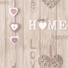 Image Is Loading RUSTIC LILAC BEIGE SHABBY CHIC HEARTS PLANK WOOD