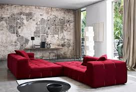 Rustic And Artistic Black Red Living Room