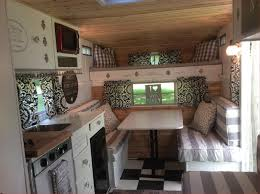 Vintage Camper Interior Trailer Makeover Color Schemes Beautiful Finished My Renovation