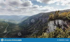 100 Rocky Landscape Large Reminiscent Of Respect For Nature Stock Photo