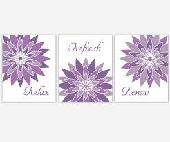 Bathroom Canvas Wall Art Purple Lavender Relax Refresh Renew Modern Floral Prints Decor