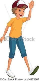 A Boy Waving His Hands Vector