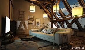 gemütliches wohnzimmer im dachgeschoss mit leuchtenden