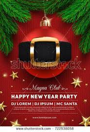 Christmas Party Poster Design 3d Ball With Santas Belt Creative Winter Holidays Background