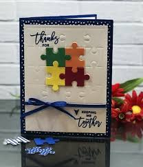 Use The New Puzzle Pieces Thinlits Dies To Emboss A Fun Background And Then It Create Die Cut For Colorful Stampin Up Love You