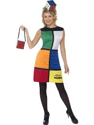 Rubiks Cube Costume 80s Ladies Fancy Dress Retro