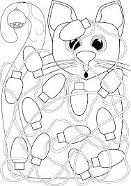 Christmas Lights Coloring Pages Plus Download Cat Tangled In Page Stock