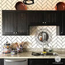Subway Tiles Kitchen Backsplash Ideas Subway Tiles Herringbone Wall Stencil