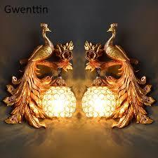 vintage gold pfau wand le europäischen kristall leuchte wand lichter für home decor schlafzimmer badezimmer wohnzimmer dekoration