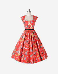 1504188 1950s pinup vintage rockabilly swing dress in dog print