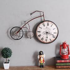Retro Personality Bike Design Hanging Wall Clock Vintage Creative Bicycle Watch Ornaments Cycle Home Decor Bar