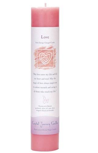 Crystal Journey Reiki Charged Herbal Magic Pillar Candle - Love, Made with Oils