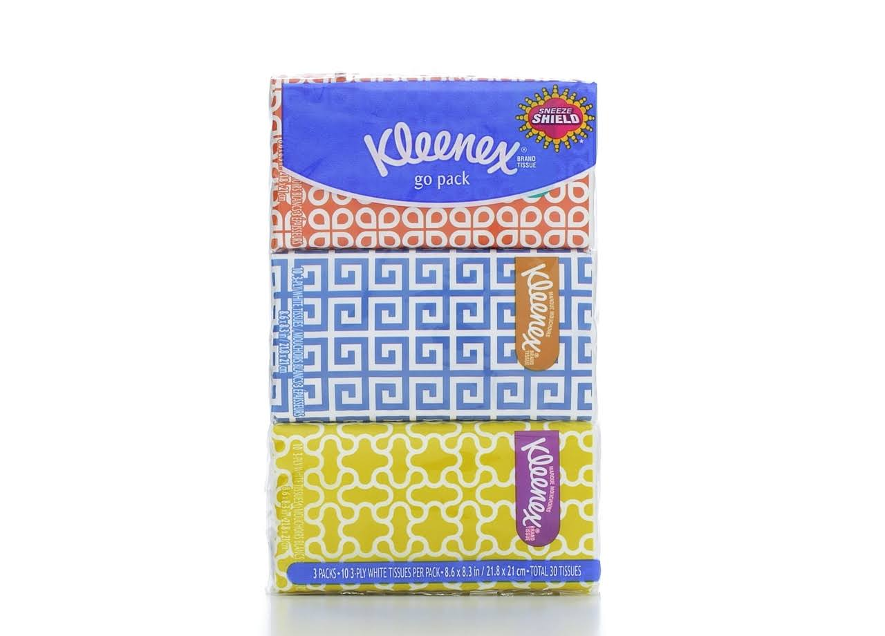 Kleenex Go Pack Facial Tissue - Pack of 3